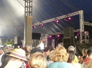 Tim Hart plays for the crowd at the Woodford Folk Festival.